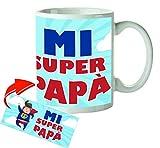 Kembilove Tazas de Desayuno Originales para Padres – Taza con Mensaje Mi Super Papá– Taza de Desayuno para Regalar el día del Padre – Tazas de Café para Padres y Abuelos – Tazas de 350 ml
