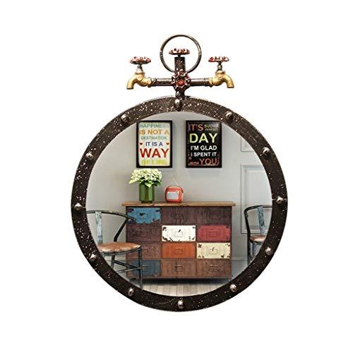 Decorative Mirror-QFF Espejo Decorativo Retro, diseño de grifería Arte de Hierro de Madera Creativa Hacer el Viejo diseño Bar Cafe Espejo de Maquillaje de Montaje en Pared Espejo de baño (Color : A)