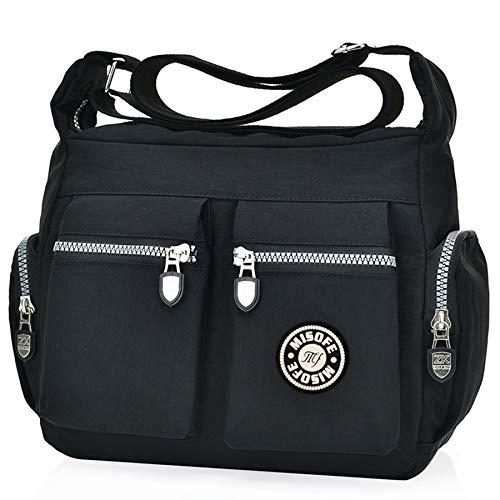 Borsa casual da donna, multi tasca, usabile a bandoliera, a tracolla o a mano, MB-0708, Nero