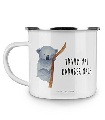 Mr. & Mrs. Panda Kaffeetasse, Deko-Becher, Camping Emaille Tasse Koalabär mit Spruch - Farbe Weiß