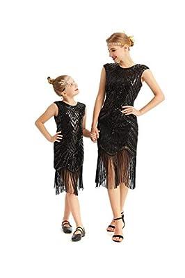 AMJM Adult and childen Matching 1920s Gastby Sequin Art Nouveau Embellished Fringed Flapper Dress