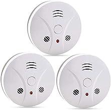 3 بسته هشدار دهنده آتش دود آشکارساز دود تحت عمل با سنسور فتوالکتریک و دکمه سکوت، هشدار دود انتقال قابل حمل