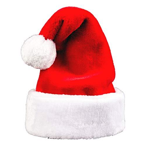 YULOONG Weihnachtsmütze für Erwachsene und Kinder, Weihnachtsmütze aus Samt mit Plüschbesatz und Comfort Liner Unisex L