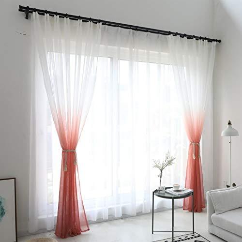 Juego de cortinas de gasa con ojales, 1,4 x 2,4 m
