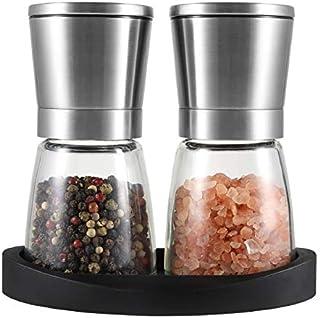 VEVOK CHEF Salt and Pepper Grinder Set, Adjustable Coarseness Ceramic Pepper Mills Salt Grinder with Stand,Kitchen Cooking Salt and Pepper Shaker Spice Grinder Home Kitchen Chef Gift