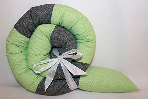 Bettrolle 155 cm Retro grün JUNIA-SHOP.de 1,55 m Nestchen Bettschlange Bettschnecke Lagerungsrolle Baby Geburt Taufe Geschenk Babybett Bettumrandung