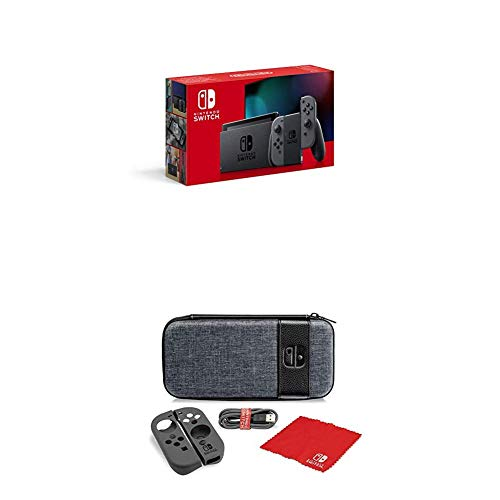 Nintendo Switch Konsole - Grau (2019 Edition) + Starter Kit Case Switch Elite Edition