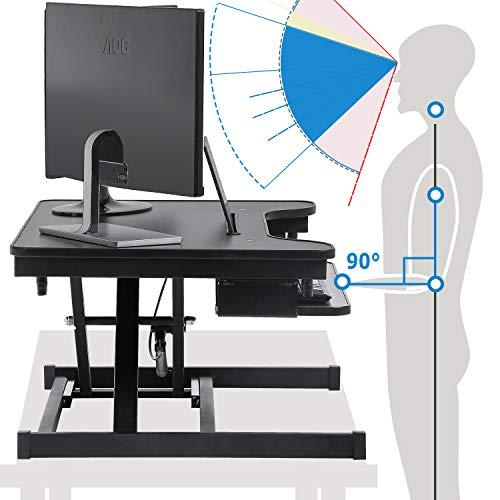 Adjustable Height Standing Desk 32 inches Converter Computer Workstation Steel Stand Up Desk Home Office Ergonomic Computer Desk Workstation with Keyboard,Black