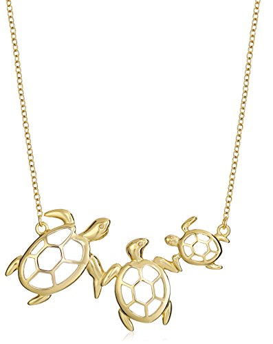 18k Yellow Gold Plated Sterling Silver 18' Turtle Family Necklace