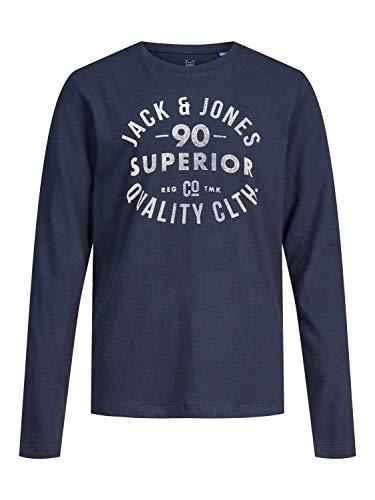 JACK & JONES Herren JJEJEANS Tee LS Crew Neck JR T-Shirt, Navy Blazer, 152