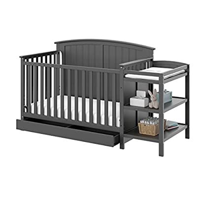 Storkcraft Steveston 4-IN-1 Convertible Crib and Changer with Drawer, Gray Easily Converts to Toddler Bed, Day Bed or Full Bed, 3 Position Adjustable Height Mattress from Storkcraft