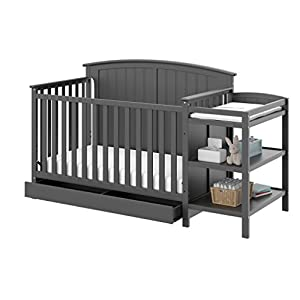 crib bedding and baby bedding storkcraft steveston 4-in-1 convertible crib and changer with drawer, gray easily converts to toddler bed, day bed or full bed, 3 position adjustable height mattress