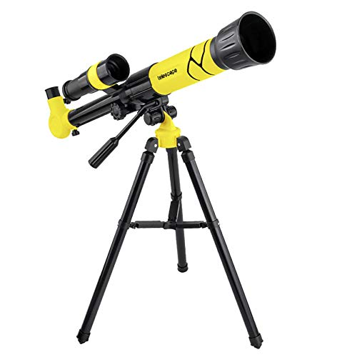 Astronomy Telescope for Beginners, Children Science Education Telescope High-Powered Monocular Telescope for Adults and Kids, Great Astronomy Gift for Kids to Explore Moon and Planets (Yellow)