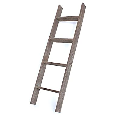 BarnwoodUSA Rustic Farmhouse Blanket Ladder - Our 4 ft Ladder can be Mounted Horizontally or Vertically and is Crafted From 100% Recycled and Reclaimed Wood | No Assembly Required | Brown