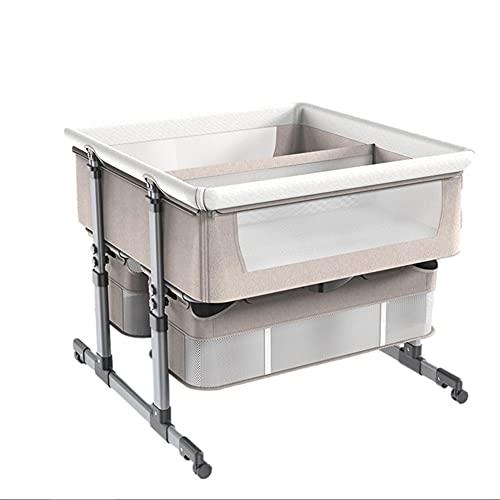 XYSQ Deluxe Minicuna Colecho Cuna para Bebé Regulable En Altura Y Reclinable Malla Transpirable Portátil para Recién Nacidos 0-24 Meses Ventilación