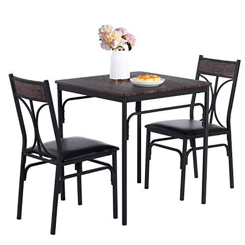 VECELO 3-Piece Dining Room Kitchen Table and Pu Cushion Chair Sets for Small Space, Retro Brown