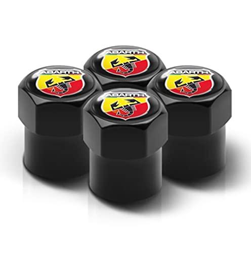 Schwarze Staub-Ventilkappe mit ultraschwarz glänzendem Abarth Logo