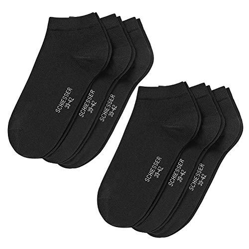Schiesser Herrensocken 6 PAAR, Cotton Sneaker (2x 3Pack) (Schwarz (000), 43-46 (8.5-11 UK))