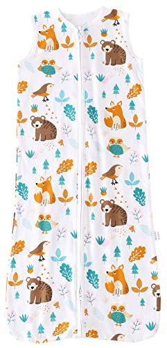 Chilsuessy Sommerschlafsack Baby Schlafsack Kleine Kinder Schlafanzug ohne Ärmel für Sommer und Frühling 100% Baumwolle (110/Baby Höhe 110-125cm, Waldtiere)