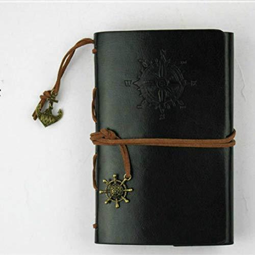 FNMYH Cuadernos Cuaderno Espiral Diario Bloc de notAP Anclajes de Pirata de la Vendimia PU Papelería de Cuero Papelería Regalo Diario de viajeros, Tamaño del Papel: L (2 PCS) (Color : Black)