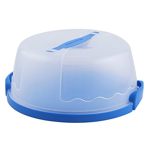 Portable Round Cake Carrier with Handle Pie Saver Cupcake Container Up to 10 Inch Translucent Dome for Transporting Cakes, Cupcakes, Cookies, Pies, or Other Desserts (Blue)