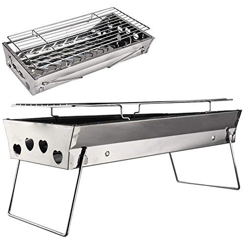 MOOUK Tafelrooster, Kolen Grill, Draagbare Barbecue Grill, Roestvrij Staal Vouwen BBQ Grill voor Outdoor Koken Camping Wandelen Picnics Tailgating Backpacking Kabob Yakitori free size ZILVER
