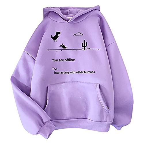 Alueeu Ropa Adolescentes Chicas Tumblr Sudaderas con Capucha Otoño Invierno Hoodie con Bolsillos Estampado de Color Sólido Cálida Básica Pullover Blusas Tops