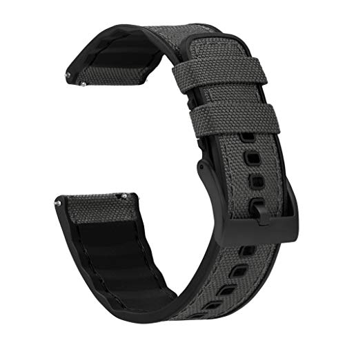 22mm Smoke Grey - BARTON Cordura Fabric and Silicone Hybrid Watch Bands with Integrated quick release spring bars- Cordura Fabric and Silicone- Black PVD Hardware