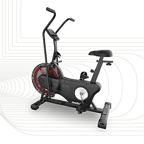 SportPlus Cyclette Ergometro, 2020 Air Bike per Fitness, Spinning e Crossfit, Crosstrainer per casa, con Doppia Cinghia per Computer, Allenamento Efficiente, Peso del utente fino a 135kg, SP-FB-2000