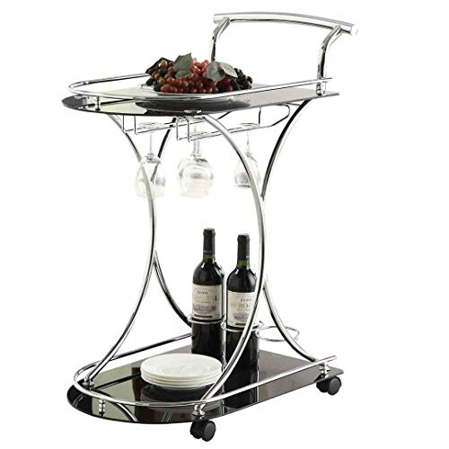 Coaster Contemporary Chrome Finish Serving Cart with 2 Black Glass Shelves
