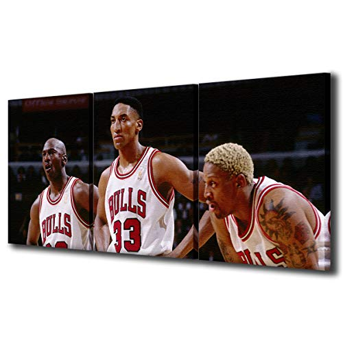 Michael Jordan Scottie Pippen Dennis Rodman in Chicago Bulls Home Jersey HD Framed Posters for Bedroom NBA Vintage Canvas Wall Art Basketball Art Work for Home Walls Ready to Hang - 16'x24'x3 Panels