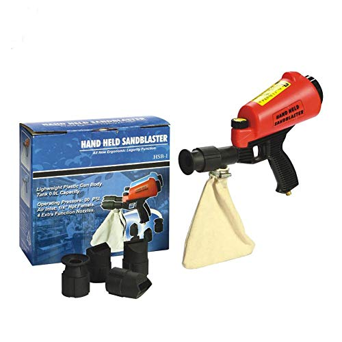 Fantastic Deal! HOLDWIN Pneumatic Sandblast Gun Portable Sandblaster Gun Kit Sand Blasting Spray Gun with 4 Nozzle Tips