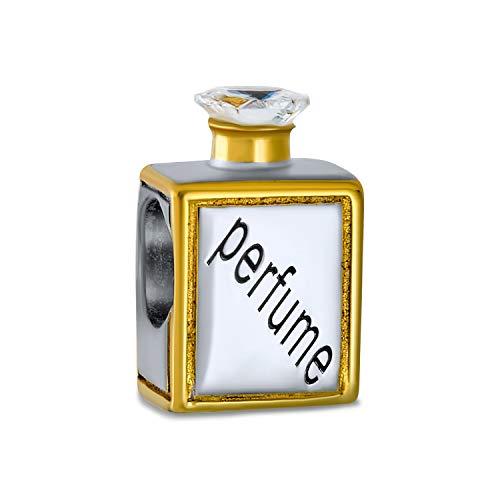 Parfüm Flasche Duft Kristall Top Charm Perle Für Frauen 2 Ton 14K Vergoldet Sterling Silber Passt Europäische Armband