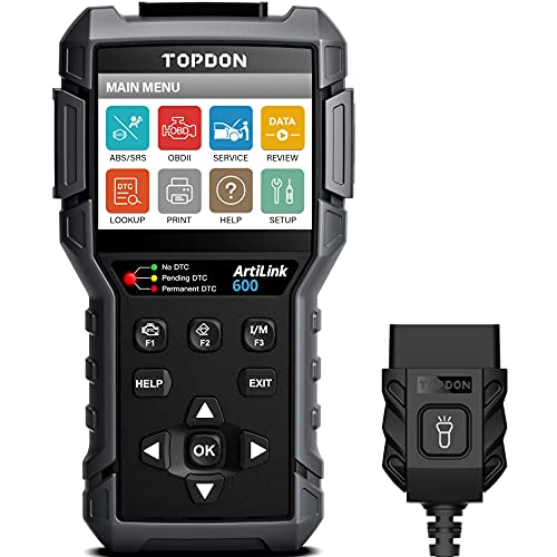 OBD2 Scanner TOPDON AL600, ABS SRS Code Reader Car Diagnostic Tool, Active Test for ABS, SRS Diagnostics, with Car Maintenance Reset Service of Oil, BMS, SAS