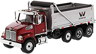 Diecast Masters Western Star 4700 SF Dump Truck Metallic Red with Silver Body 1/50 Diecast Model