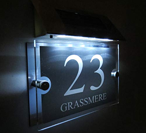 Modern Solar Light House Signs Plaques Door Numbers 1-9999 Street Name LED Personalised!