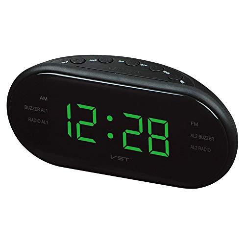 Rubyu Draadloze wekker, radiowekker, LED-klok radio, AM/FM, tweekanaals radiowekker, reiswekker, multifunctionele digitale wekker met draagbare oplader