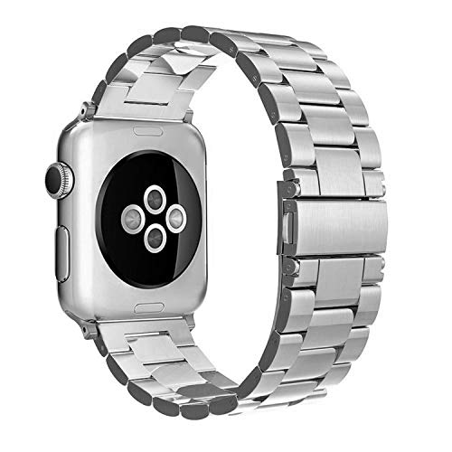 Simpeak Correa Compatible con Apple Watch 6/SE/5/4/3/2/1 38mm de Acero Inoxidable Reemplazo de Banda de la Muñeca con Metal Corchete, Plata
