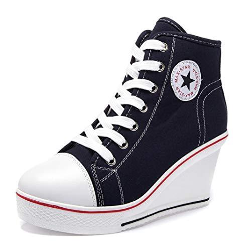 Dames Klassiekers Hoge Canvas Schoenen Ademend Plateau Wedge Sneakers Ronde Neus Veters Espadrilles Casual Chunky Sneakers