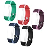 ID115 PLUS HR Replacement Wristbands - Adjustable Replacement Bands for Activity Tracker ID115 PlusHR, ID115 Plus, 5 Colors One Set (Black, Red, Blue, Green, Purple)