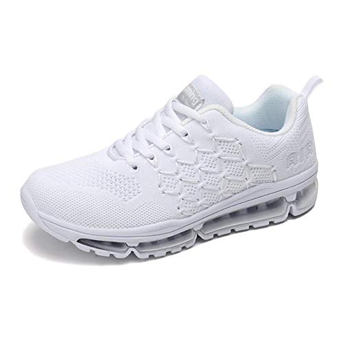 Air Zapatillas de Running para Hombre Mujer Zapatos para Correr y Asfalto Aire Libre y Deportes Calzado 1643 Unisexo White 37