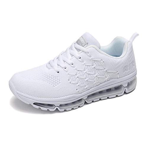 Air Zapatillas de Running para Hombre Mujer Zapatos para Correr y Asfalto Aire Libre y Deportes Calzado 1643 Unisexo White 38
