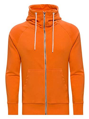 WOTEGA Herren Sweatjacke Hoodie Kapuzenjacke Kapuzenpullover Flash, Orange (Tangerine 151247), L