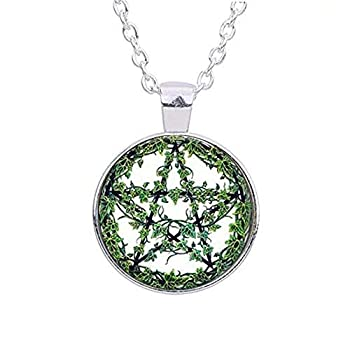 Green Plant Rattan Pentagram Necklace Tree Pendant Wiccan Star Pentacle Jewelry Occult Pendant Necklace