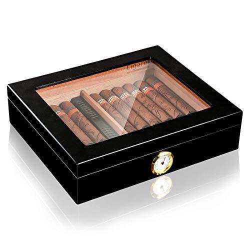 Volenx Cigar Humidor, Cigar Box with Hygrometer and Humidifier, Cedar Wood Desktop Cigar Humidor for 25 Cigars