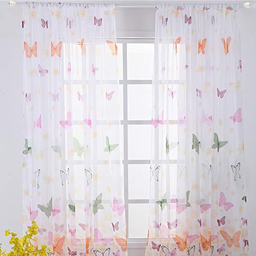 Litthing Vorhang Blumen Gardine Frühlings Blumenmuster Transparenter Stickerei für Wohnzimmer Schlafzimmer Studierzimmer (Schmetterling)