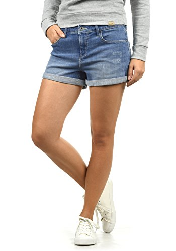 BlendShe Andreja Damen Jeans Shorts Kurze Denim Hose Mit Destroyed-Optik Aus Stretch-Material Skinny Fit, Größe:L, Farbe:Light Blue Denim (29030)