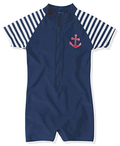 Playshoes Jungen Schwimmanzug Badebekleidung UV Schutz- Maritime, marineblau/weiß, 98/104 (2-3 Jahre), 460111