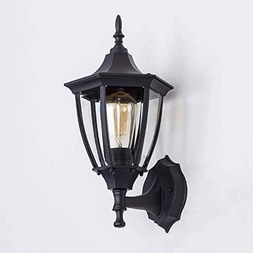 Lámpara De Pared Simple Y Fresca Estilo minimalista Metal Iluminación de pared Lámpara de pared Vintage E27 Lámparas al aire libre de aluminio de aluminio negro, retro Impermeable Pared de pared Luz d