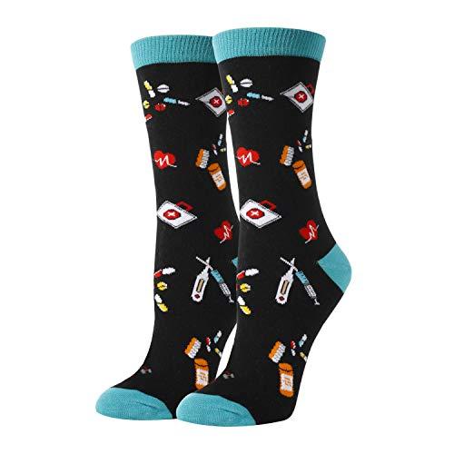 SOCKFUN Socken für Damen & Mädchen, Taco Buch, Ananaszähne, Tiersocken - Schwarz - Medium